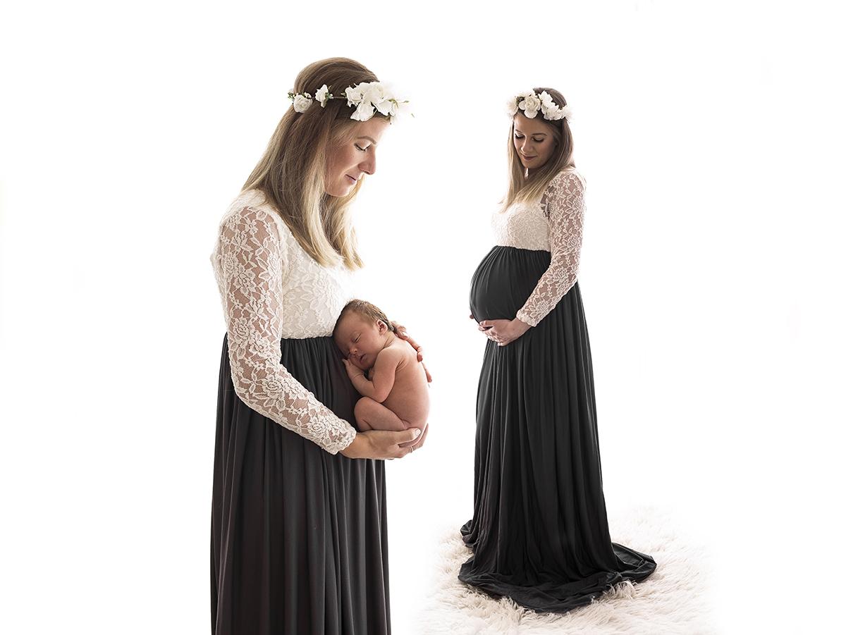 Gravid och nyföddfotograf i studio. Före och efter
